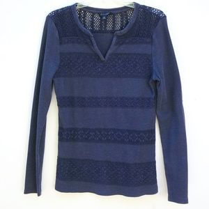Lucky Brand Navy Long Sleeve Top Lace Panels S